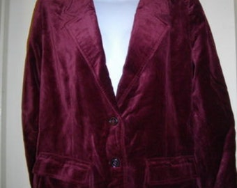 Burgundy Roth LeCover Jacket Single Breasted Cotton Rayon Blazer