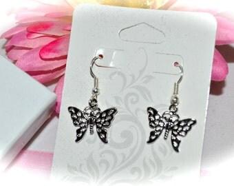 Butterfly Earrings, Silver Tone, Dangle Earrings, Fishhook Ear Wires