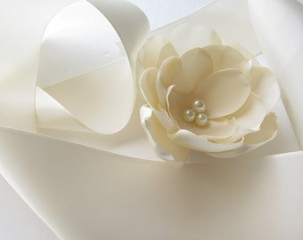 Ivory Double Face Satin Ribbon / Ivory Ribbon / Ribbon by the yard / Ivory Flower NOT included