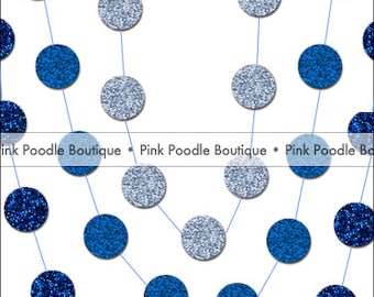 GLITTER Sparkle Circle CONFETTI GARLAND -- choose the length & color from Midnight/Navy, Royal, Neon, Sky, Pastel/Baby Blue