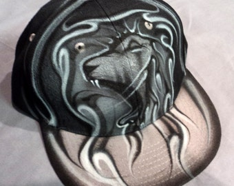 Airbrushed Roaring Lion Snapback Hat Hand Painted airbrush