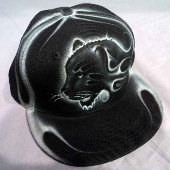 airbrushed panther snapback hat hand painted airbrush. Black Bedroom Furniture Sets. Home Design Ideas