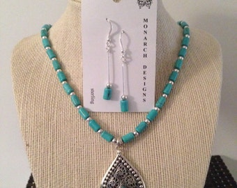 Magnesite and sterling necklace