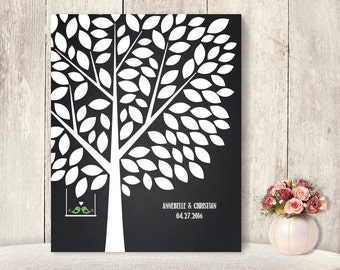 "Wedding Guest Book Alternative Poster / Guest Tree on Chalkboard, Love Birds / ""Leaving Wishes"" 100 ▷ Printable File {or} Printed & Shipped"