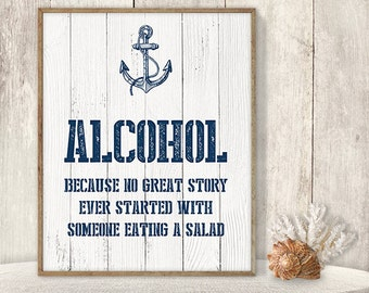 Alcohol Not Salad Sign // Funny Wedding Sign DIY // Nautical Sign, Navy Anchor Printable PDF // Nautical Planks ▷ Instant Download