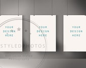Poster Picture Wall Display Mockup/ Styled Stock Photography/ Photography Mock Up/ Product Background/ Frame Mockup/ Poster Print Grey Wall