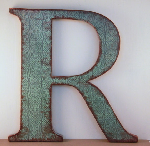 Letter r 12 wood letter wall decor two tone mossy - Wood letter wall decor ...