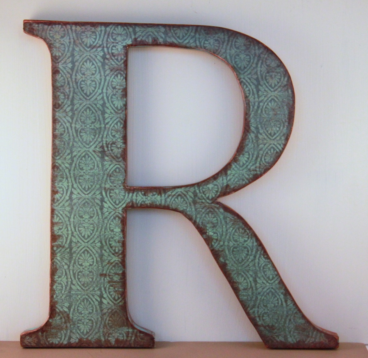 Letter r 12 wood letter wall decor two tone mossy for Party wall letter template