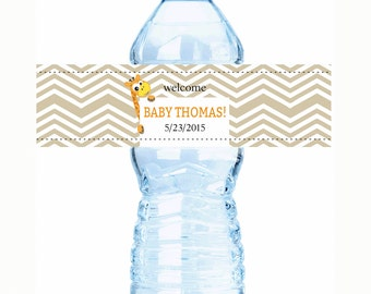 """30 Born to be Wild Animal Baby Shower Water Bottle Labels  - Select the quantity you need below in the """"Pricing & Quantity"""" option tab"""