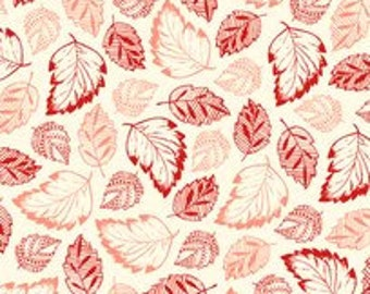 Cream/Coral Tossed Leaves...French Navy Collection