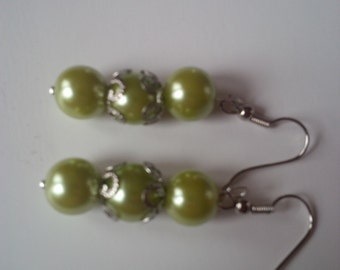 Light Green Beaded Earrings  (#85)