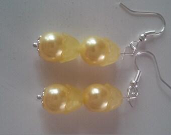 Yellow Beaded Earrings   (#288)