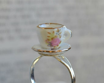 "Alice In Wonderland ""Curiouser and Curiouser"" Pink Rose Teacup Ring"