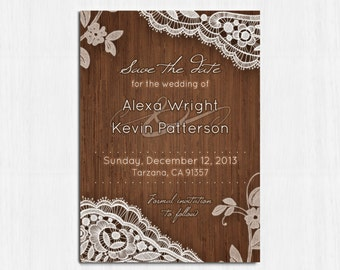 Elegant Save the date, Printable lace save the date, Digital file, rustic wedding, Elegant lace save the date card, elegant, RusticElegance