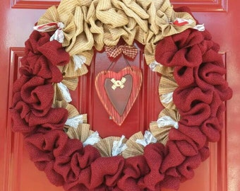 VALENTINES WREATH- Burlap Door Wreath- Rustic Wreath-Burgundy Burlap Wreath- Country Heart Door Wreath- Shabby Chic Wreath- Rustic Decor