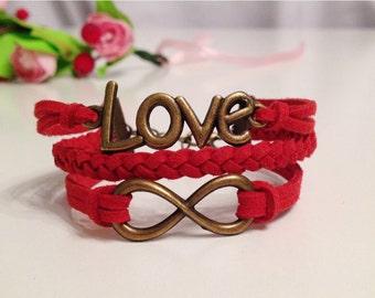 Love Bracelet Infinity Bracelet Red Bracelet Charm Bracelet Antique Bronze Charms Bracelet Friendship bracelet Leather bracelet