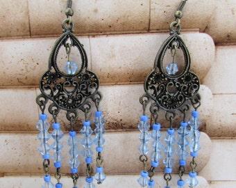 Earring, Blue Glass Beads, Blue Seed Beads, Chandelier Earring, Dangle Earring ,Ear Wire,Vintage Look Earring, Indie Dangle Earring,