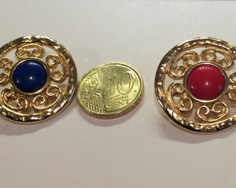 Buttons  vintage 70s metal center with red or blue 1""