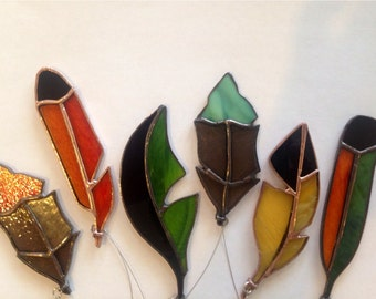 Exotic, stained glass feathers