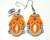 Orange soutache earrings, soutache jewelry, orange gray, cat eye glass, embroidered earrings, hematite earrings, soutache bijoux, gioielli