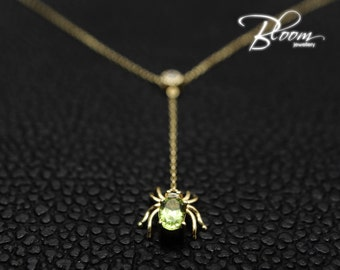 Solid Gold Y Necklace 14 karat Peridot Spider Delicate Gold Chain Adjustable Length Elegant Gold Necklace Real Gold Necklace Unique Gold