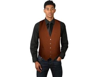 Men's Brown Full Back Dress Vest