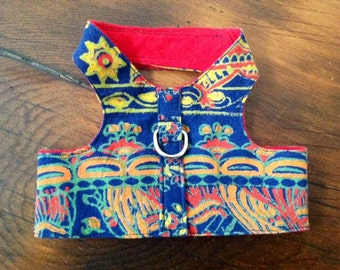 Medium Dog Harness Indian Batik Cotton Print, Matching Leash Available