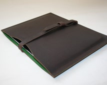 Personalised waxed hide leather iPad case