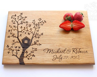 Tree House Cutting Board, Personalized Wood Engraved Cutting Board, Anniversary Gift, Gift for Family, Wedding gift, Gift for friend, Love