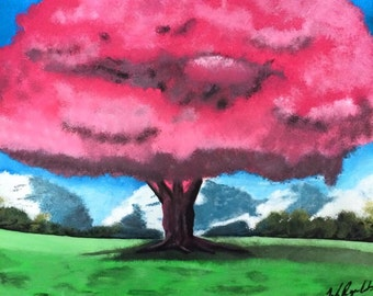 Pink Tree Acrylic Painting on flat canvas