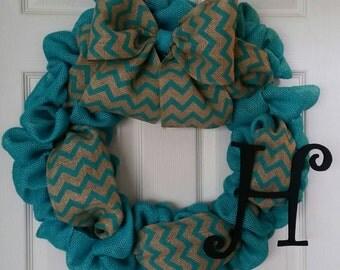 Aqua Chevron Burlap Spring Wreath