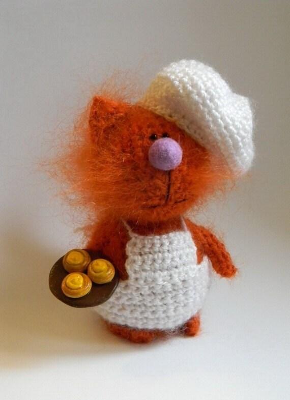 Items similar to Cat Confectioner & Buns, Crochet Orange ...