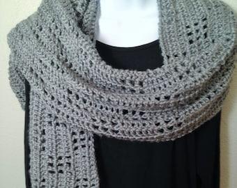 Heather gray crocheted shoulder wrap
