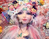 Mixed Media Handmade Polymer Clay Original Fantasy Art Doll Wall Sculpture ,,Lady Butterfly""
