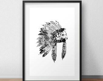 Chief - Tribal Feathers Home Decor Printable Digital Art Black & White Wall Art