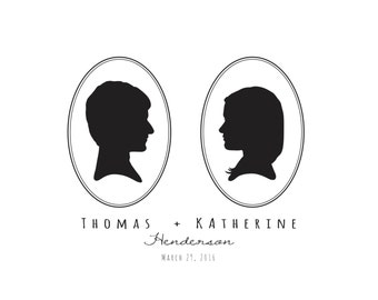 Commemorative Marriage Silhouette Portraits, unframed - Oval Border