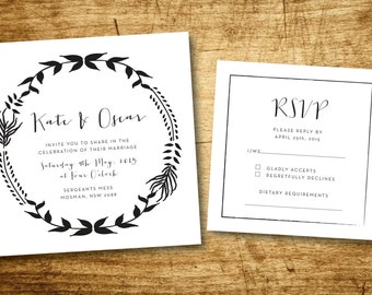 Wedding Stationery Invitation set- Vintage Including Envelopes