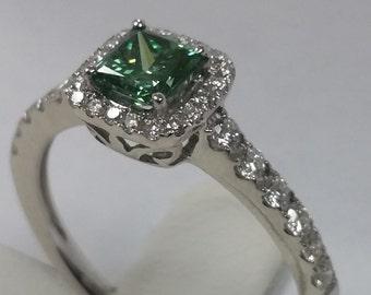 1.04 Ct. Green and White Diamond 14K White Gold Engagement Ring