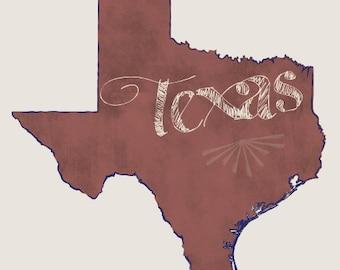 Texas State Cardstock Print