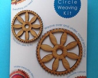 Twin circle Weaving Kit (two round loom frames DIY)
