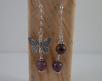 Ruby and Sterling Butterfly Earrings, Ruby Earrings, Sterling Butterfly Earrings, Ruby Butterfly Earrings, Ruby Dangle Earrings, Butterfly