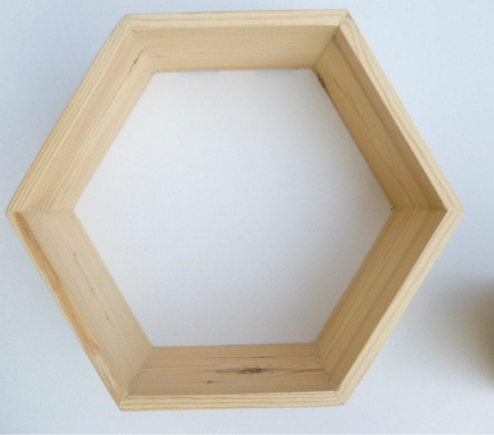 Deep wooden hexagonal shelf pine hexagon by CraftedPineCo on Etsy