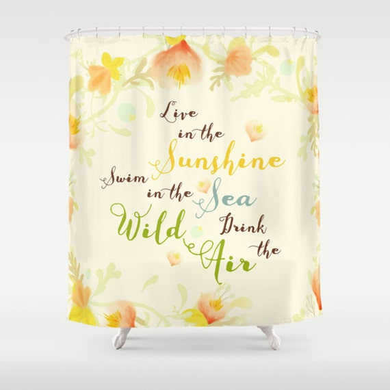 Shower Curtain, Quote, Bathroom Decor, Wild Air, Live, Pastel Yellow ...