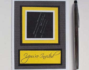 Handmade Black & Yellow Polka Dot Shower Invites