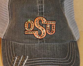 Oklahoma State University OSU Cowboys trucker BLING baseball hat