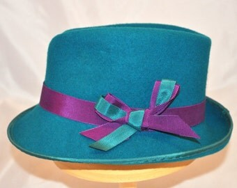 Handmade Turquoise Trilby trimmed with hot pink & turquoise ribbon bow
