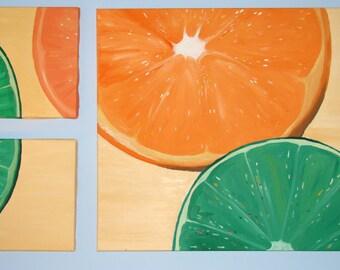 "Orange and Lime.  Handmade original acrylic on canvas painting.  20x 26 "", (2) 9 x 12"", home decor"