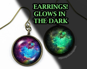 Blue space nebula earrings · glowing jewelry · space jewelry · nebula jewelry · galaxy jewelry · gifts for her · gifts for him · handmade