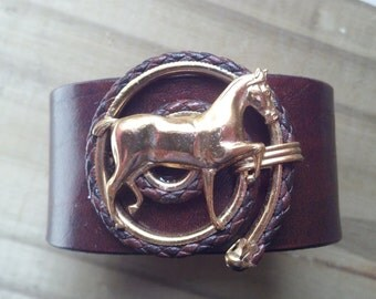 Horse and Rope Brown leather cuff bracelet
