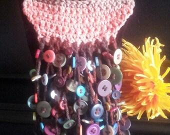 Crochet button dangler necklace
